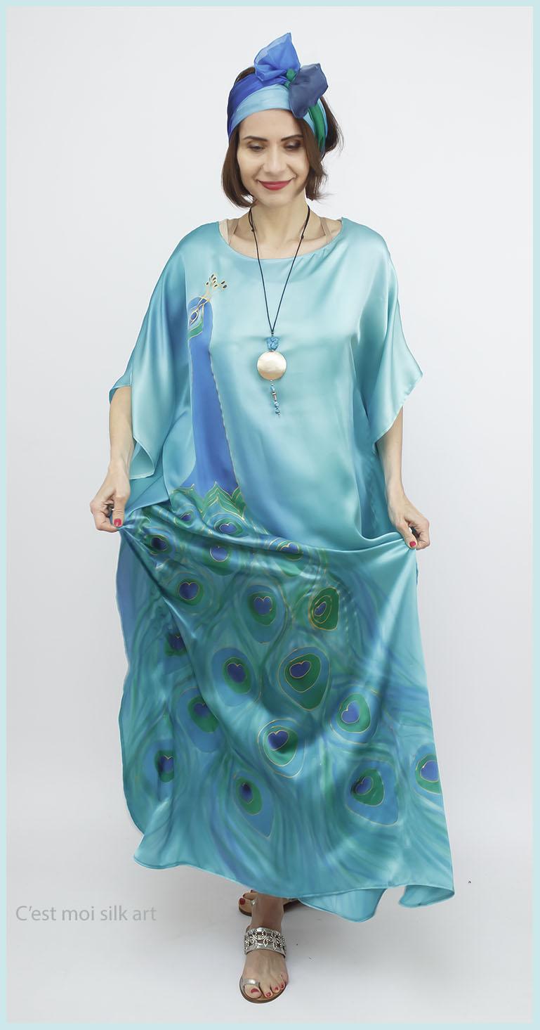 selyem szatén türkiz ruha páva mintás 06
