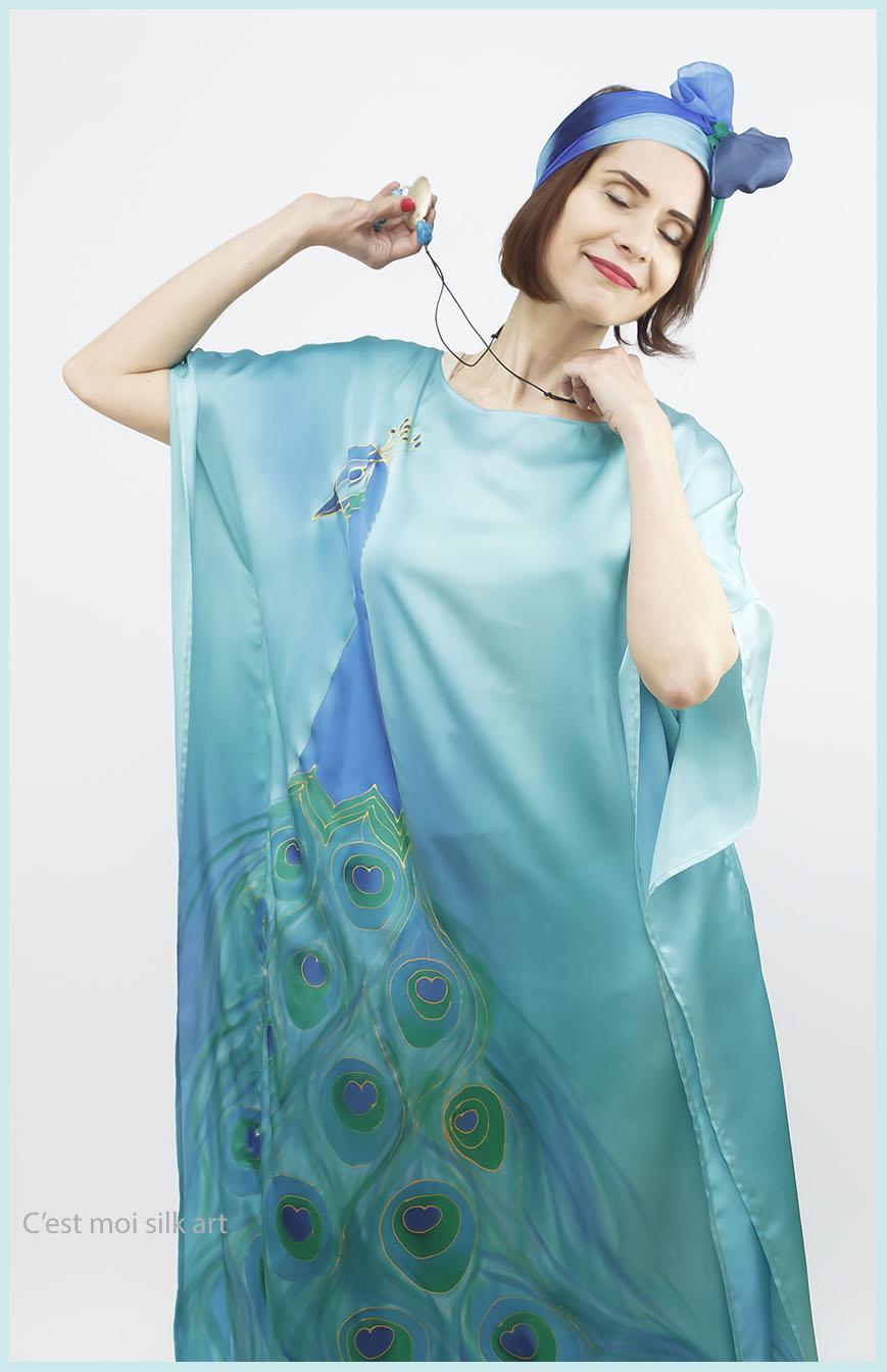 selyem szatén türkiz ruha páva mintás 08