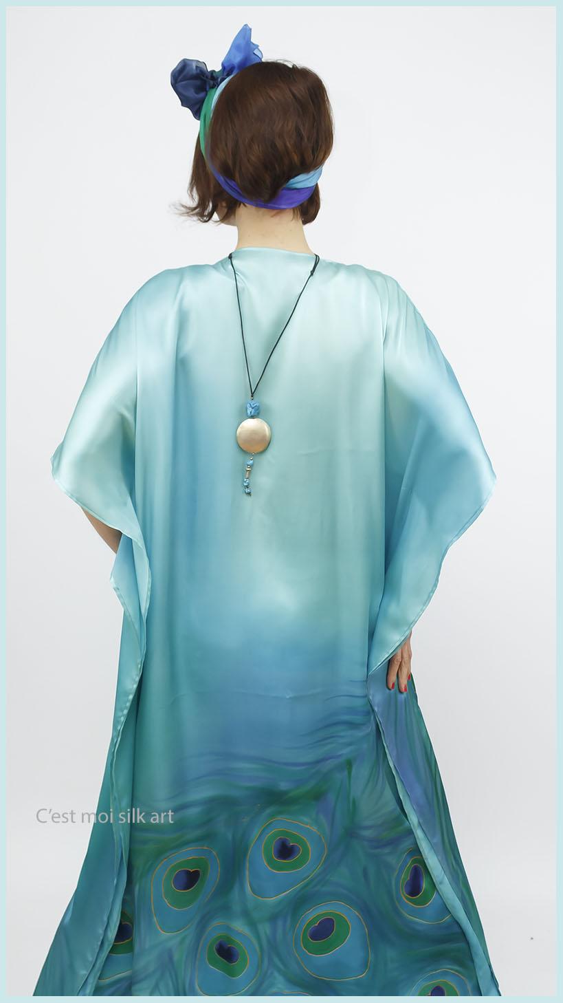 selyem szatén türkiz ruha páva mintás 10