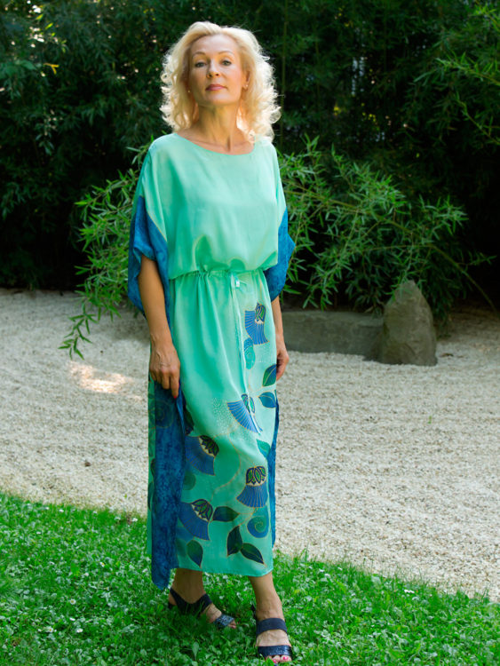 turquoise-silk-dress-with-papyrus-and-flower-of-life-0002