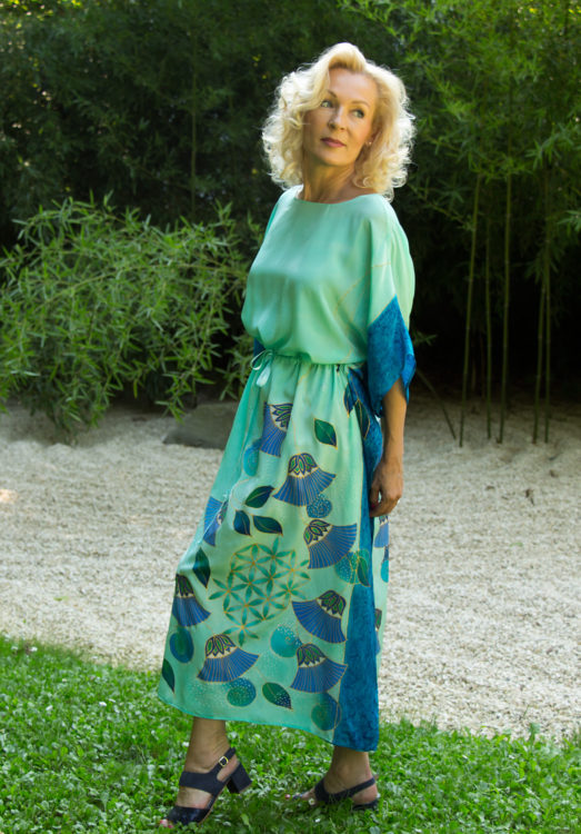turquoise-silk-dress-with-papyrus-and-flower-of-life-008