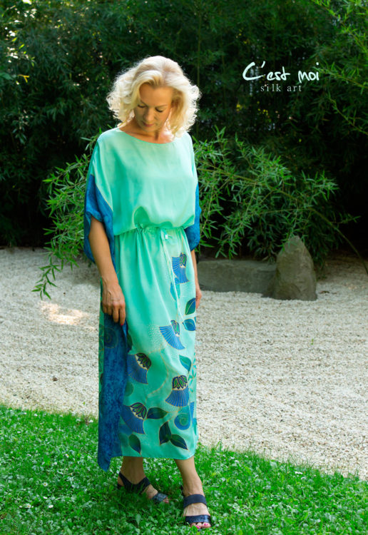turquoise-silk-dress-with-papyrus-and-flower-of-life-01
