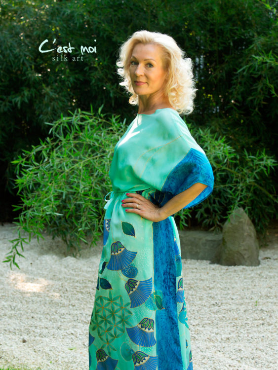 turquoise-silk-dress-with-papyrus-and-flower-of-life-04